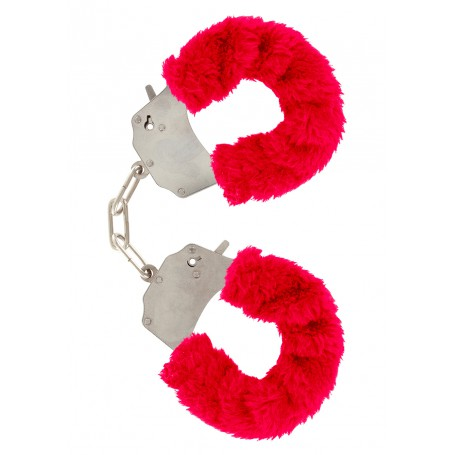 Pouta PLYŠOVÁ kovová červená