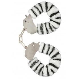 Pouta PLYŠOVÁ kovová zebra