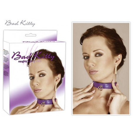 Obojek BAD KITTY purple s kroužkem