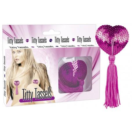 Lepítka na bradavky TITTY TASSELS heart pink
