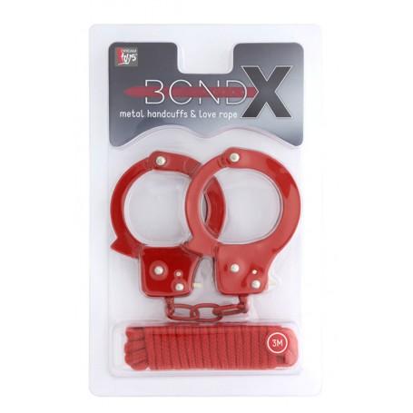 Sada Lano na bondáž a pouta kovová BONDX red