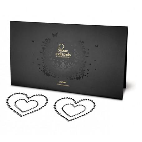 Lepítka na bradavky BIJOUX MIMI HEART black 2 ks