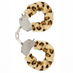 Pouta PLYŠOVÁ kovová leopard