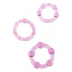 Kroužky na penis STAY HARD SADA 3 ks fialové