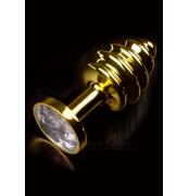 Kolík anální DP JEWELLERY RIBBED gold diamond