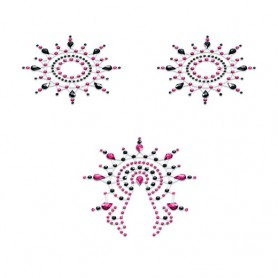 Lepítka GLORIA glittering jewelry black and pink 3 ks