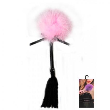 Dráždidlo péřové s třásněmi pink