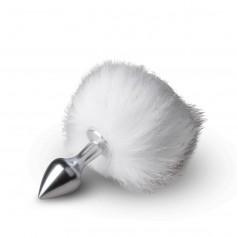Anální kolík BUNNY TAIL PLUG silver s bílým ocáskem