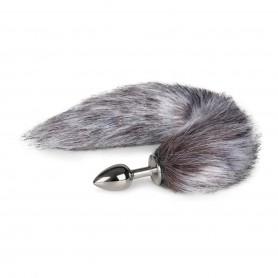 Anální kolík FOX TAIL PLUG SMALL silver s šedým ohonem