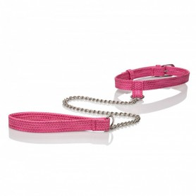 Obojek s vodítkem CalExotics TICKLE ME Collar with Leash pink