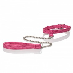 Obojek s vodítkem CalExotics TICKLE ME Collar with Leash pink