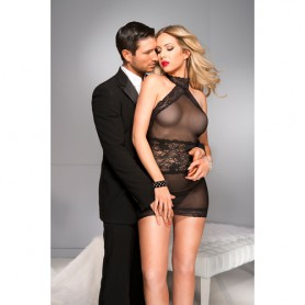 Šaty Musiclegs High CUT NECKLINE chemise with lace trim black