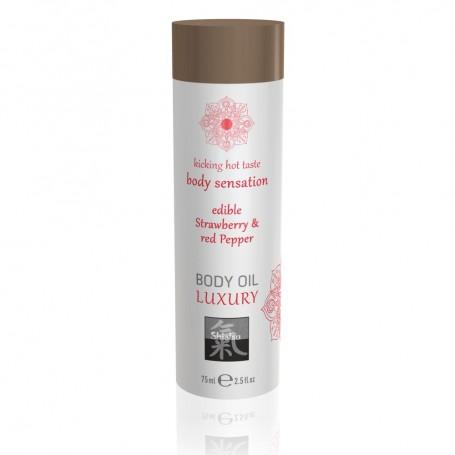 Masážní olej Shiatsu Edible Strawberry & Red Pepper 75 ml