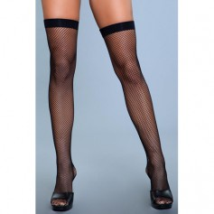 Punčochy Be Wicked Nylon Fishnet Thigh Highs black S-L