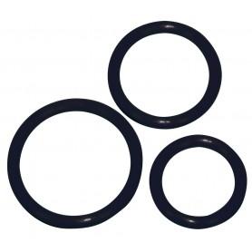 Sada 3 erekčních kroužků SILICONE COCK RING SET černá