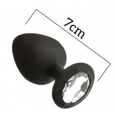 Anální kolík MAI No.47 ANAL PLUG WITH STONE S černý