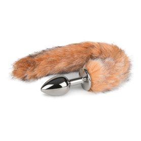 Anální kolík FOX TAIL PLUG SMALL silver s hnědým ohonem