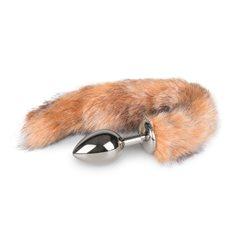 Anální kolík FOX TAIL PLUG MEDIUM silver s hnědým ohonem