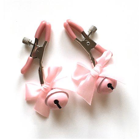 Skřipce na bradavky EXTREME s rolničkou a mašličkou růžové