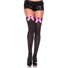 Punčochy MUSIC LEGS Thigh High Stockings With Pink Bow S-L